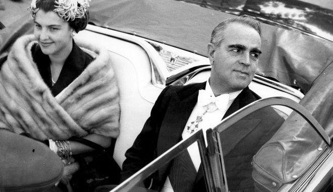 H Αμαλία Μεγαπάνου με τον Κωνσταντίνο Καραμανλή