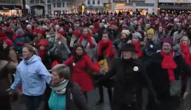 Κινητοποίηση κατά της βίας εναντίον των γυναικών στις Βρυξέλλες