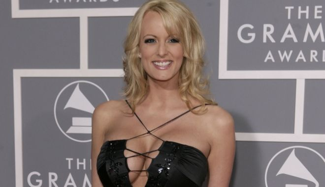 FILE - In this Feb. 11, 2007, file photo, adult film actress Stormy Daniels arrives for the 49th Annual Grammy Awards in Los Angeles. Stormy Daniels, whose real name is Stephanie Clifford, is suing President Donald Trump and wants a California judge to invalidate a nondisclosure agreement she signed days before the 2016 presidential election. (AP Photo/Matt Sayles, File)