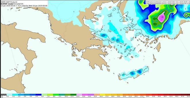 Προβλεπόμενα ύψη χιονιού (σε cm) από Τρίτη 15/18:00 έως Τετάρτη 168/00:00 UTC