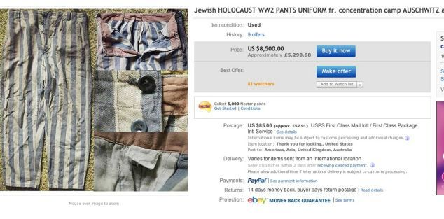 Jewish HOLOCAUST WW2 PANTS UNIFORM fr. AUSCHWITZ armband star Holocaust  items being sold on Ebay dda0455fea2