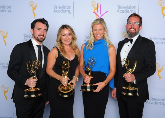 EXCLUSIVE - Rhys Thomas, from left, Erin Doyle, Lindsay Shookus, and Erik Keyword, winners of the award for outstanding variety special for