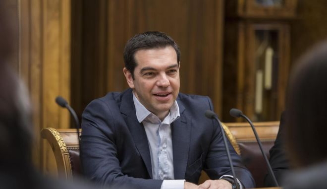 Greek Prime Minister, Alexis Tsipras visits the State Duma and meets the President Sergey Naryshkin, Moscow, Russia, on April 9, 2015. /              , ,   9 , 2015.