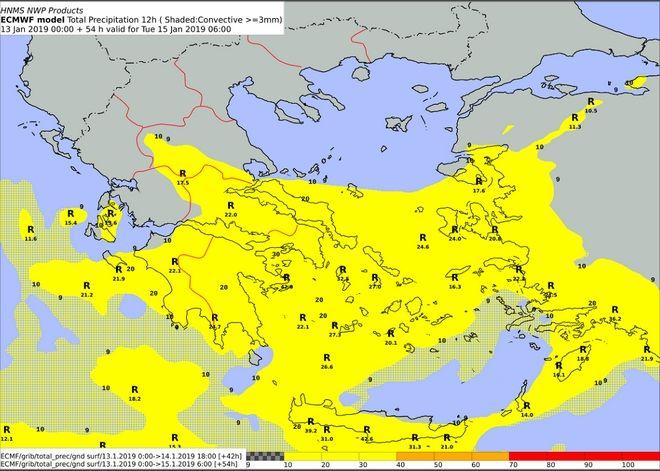 Προβλεπόμενα ύψη υετού 12ωρου και χρωματικός δείκτης Meteoalarm- Τρίτη 15/06:00 UTC