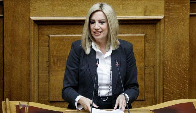 Η Φώφη Γεννηματά κατα την ομιλία της στη Βουλή για την ψήφο των αποδήμων.