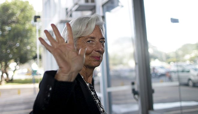 International Monetary Fund (IMF) Managing Director Christine Lagarde arrives at Brazil's Finance Ministry before a meeting with Brazilian Finance Minister Joaquim Levy in Brasilia, May 21, 2015. REUTERS/Ueslei Marcelino - RTX1E0RW