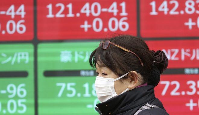 Γυναίκα μπροστά από πίνακα χρηματιστηριακών συναλλαγών