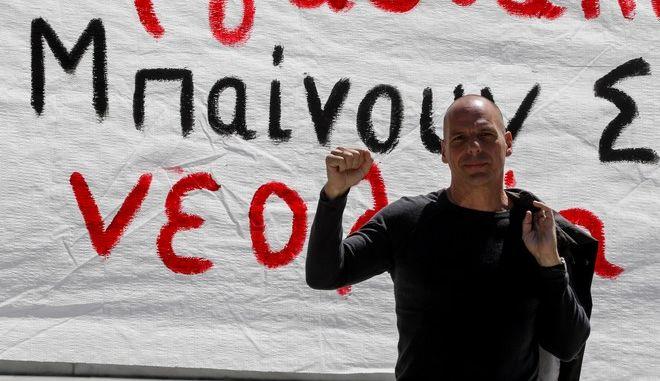 Ο Γιάνης Βαρουφάκης στη συγκέντρωση για την Πρωτομαγιά στην Αθήνα