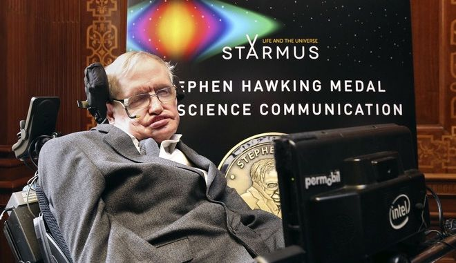 Britain's Professor Stephen Hawking attends a press conference previewing the Starmus science and arts festival taking place in Norway next month , at The Royal Society in London, Friday May 19, 2017. (Philip Toscano/PA via AP)