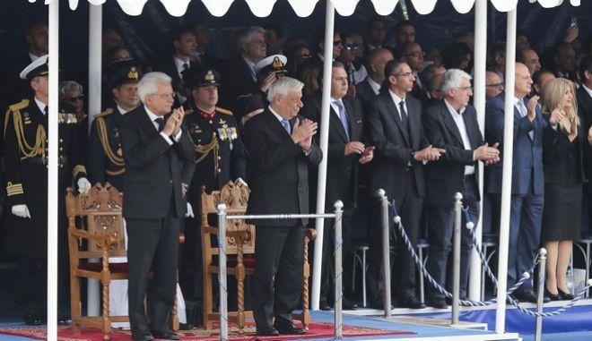 Στρατιωτική παρέλαση για την επέτειο της 28ης Οκτωβρίου στην Θεσσαλονίκη, παρουσία του ΠτΔ Προκόπη Παυλόπουλου και του Ιταλού Προέδρου Σέρτζιο Ματαρέλα