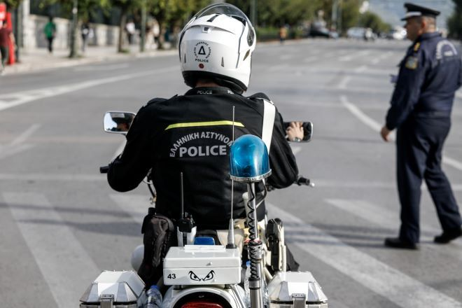 Η αστυνομία κατά την προετοιμασία μέτρων για διαδήλωση