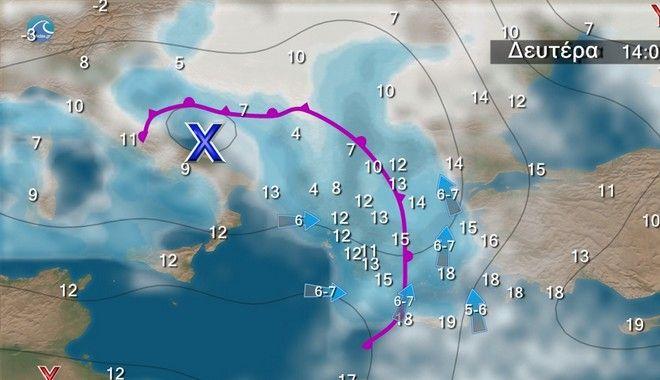 Επιδείνωση του καιρού Κυριακή και Δευτέρα - Βροχές και καταιγίδες τοπικά ισχυρές