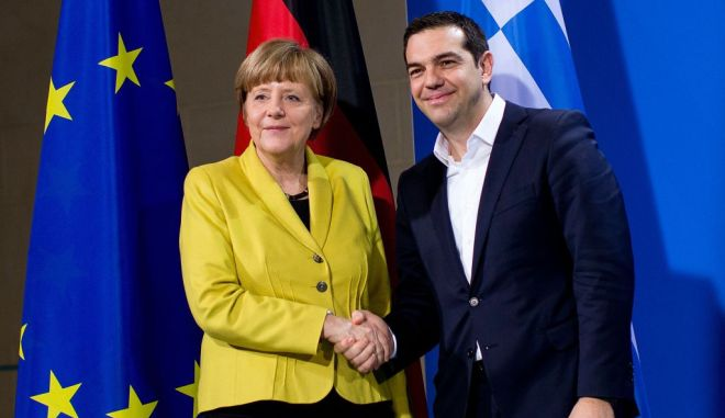 BERLIN, GERMANY - MARCH 23:  German Chancellor Angela Merkel and Greek Prime Minister Alexis Tsipras depart after speaking to the media following talks at the Chancellery on March 23, 2015 in Berlin, Germany. The two leaders are meeting as relations between the Tsipras government and Germany have soured amidst contrary views between the two countries on how Greece can best work itself out of its current economic morass.  (Photo by Carsten Koall/Getty Images)