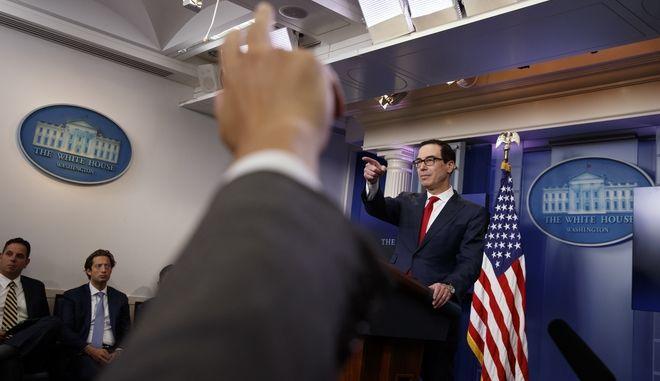 Treasury Secretary Steve Mnuchin speaks during the daily press briefing, Thursday, June 29, 2017, in Washington. (AP Photo/Evan Vucci)