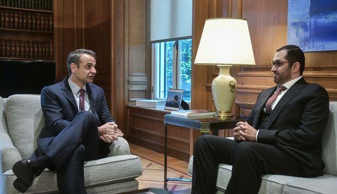 Συνάντηση του πρωθυπουργού Κυριάκου Μητσοτάκη με τον Υπουργό Επικρατείας των Ηνωμένων Αραβικών Εμιράτων, Sultan Ahmed Al Jaber