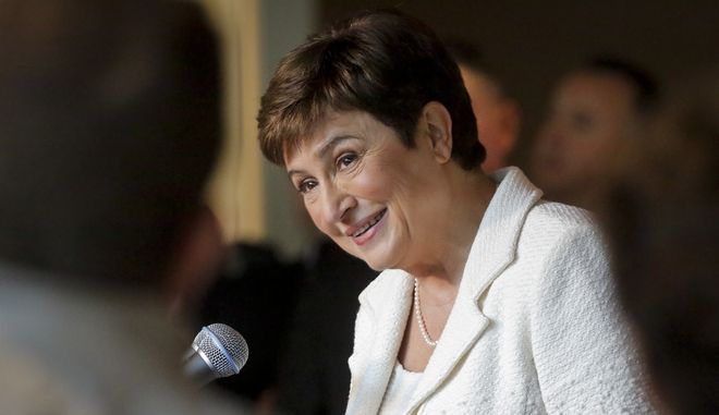 Η Κρισταλίνα Γκεοργκίεβα σε συνέντευξη Τύπου στα κεντρικά γραφεία του ΟΗΕ τον Οκτώβριο του 2016