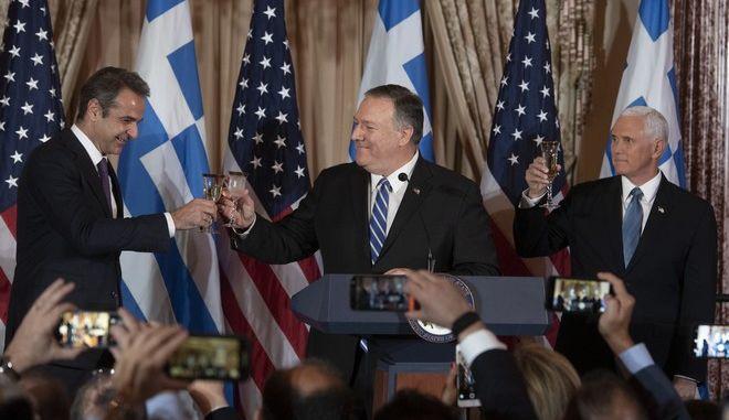 Ο πρωθυπουργός Κυριάκος Μητσοτάκης, ο  ΥΠΕΞ των ΗΠΑ Μάικ Πομπέο, και ο αντιπρόεδρος των ΗΠΑ Μάικ Πένς
