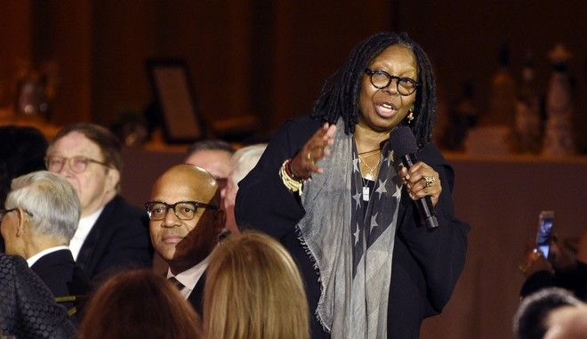 Actress Whoopi Goldberg makes a tribute to honoree Donald Sutherland at the 2017 Governors Awards at The Ray Dolby Ballroom on Saturday, Nov. 11, 2017, in Los Angeles. (Photo by Chris Pizzello/Invision/AP)