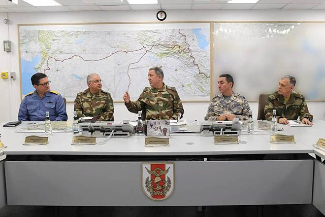 epa06458456 A handout photo made available by the Turkish Armed Forces shows Turkish Chief of Staff General Hulusi Akar (C), Turkish Land Forces Commander Yasar Guler (2-L), Turkish Naval Forces Commander Adnan Ozbal (L), Turkish Air Forces Commander Hasan Kucukakyuz (2-R) and Turkish Chief General Umit Dundar (R), during a press conference on planned operation to Syria's Afrin district in Ankara, Turkey, 20 January 2018. Reports state that the Turkish army is  on operation in Syria against the Kurdish Popular Protection Units (YPG) forces.  EPA/TURKISH ARMED FORCES / HANDOUT  HANDOUT EDITORIAL USE ONLY/NO SALES