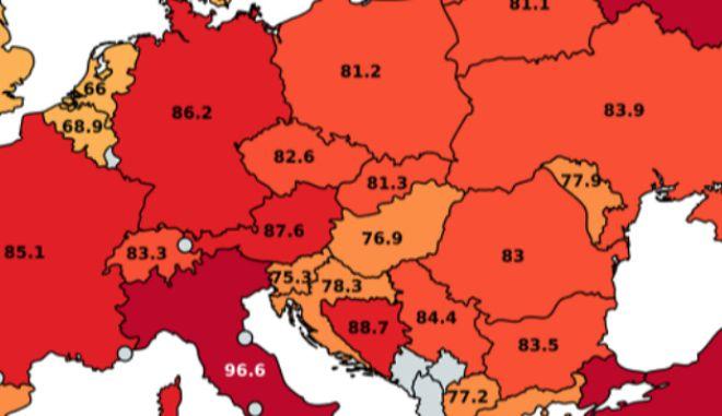 Χάρτης: Οι μεγαλύτερες διαφορές θερμοκρασίας στην Ευρώπη
