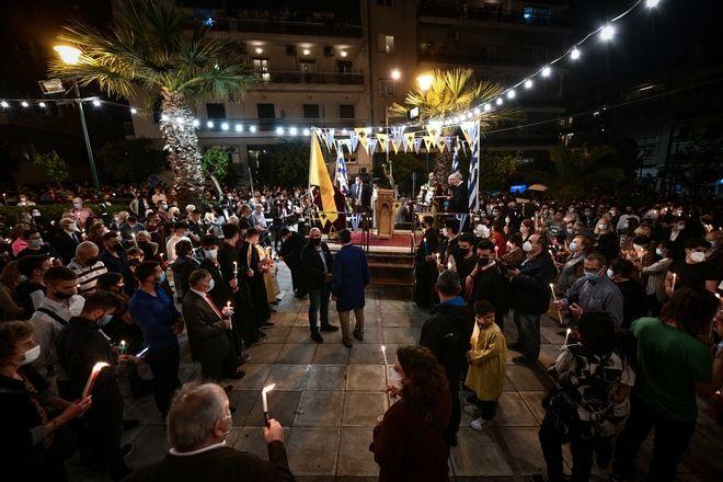 Η Αναστάσιμη ακολουθία στο προαύλιο του Ι.Ναού του Προφήτη Ηλία στο Παγκράτι, Σάββατο 1 Μαϊου 2021(ΤΑΤΙΑΝΑ ΜΠΟΛΑΡΗ/ EUROKINISSI)