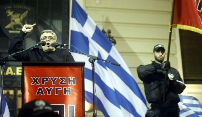 """Συγκέντρωση για την επέτειο των Ιμίων, μπροστά στο μνημείο των Ιμίων, στη διασταύρωση των οδών Βασ. Σοφίας και Ρηγίλλης το Σάββατο 2 Φεβροαυαρίου 2013.  Τη συγκέντρωση πραγματοποίησε η Επιτροπή Εθνικής Μνήμης και στην οποία συμμετείχε το κόμμα της """"Χρυσής Αυγής"""". (EUROKINISSI/ΓΙΩΡΓΟΣ ΚΟΝΤΑΡΙΝΗΣ)"""