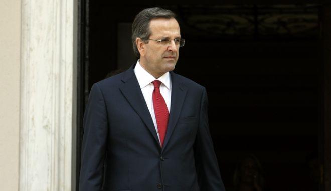Συνάντηση Ισραηλινού Προέδρου Σίμον Πέρες με τον Πρωθυπουργό Αντώνη Σαμαρά την Δευτέρα 06 Αυγούστου 2012 στο Μέγαρο Μαξίμου. Ο Σιμόν Πέρες πραγματοποιεί επίσημη επίσκεψη στην Ελλάδα..(EUROKINISSI/ΤΑΤΙΑΝΑ ΜΠΟΛΑΡΗ)