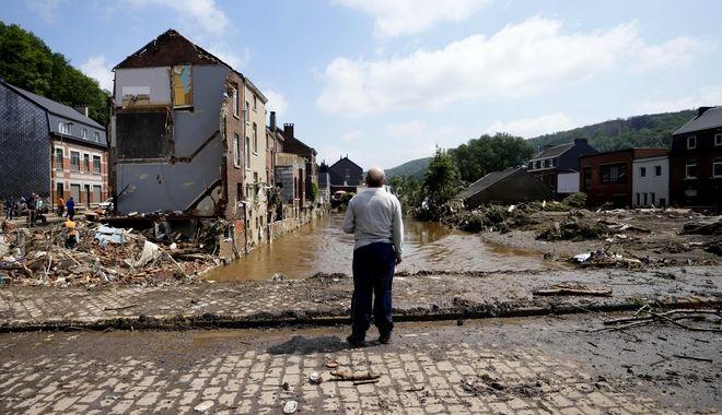 Εικόνα από τις πλημμύρες στο Βέλγιο.