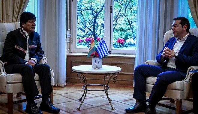 Συνάντηση του Πρωθυπουργού Αλέξη Τσίπρα με τον Πρόεδρο της Βολιβίας, Έβο Μοράλες