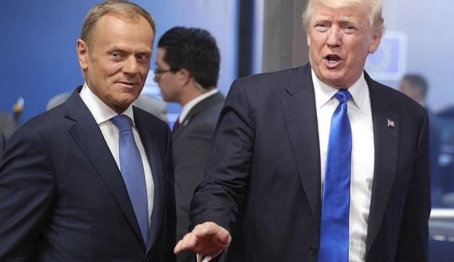 Ο Πρόεδρος των ΗΠΑ, Ντόναλντ Τραμπ με τον πρόεδρο του Ευρωπαϊκού Συμβουλίου, Ντόναλντ Τουσκ