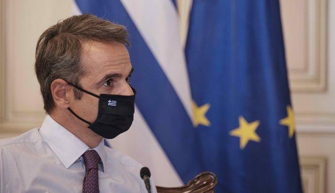 Ο Κυριάκος Μητσοτάκης με μάσκα (φωτογραφία αρχείου)
