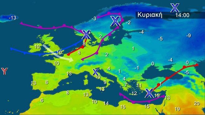 Οι θερμοκρασίες στην Ευρώπη την Κυριακή