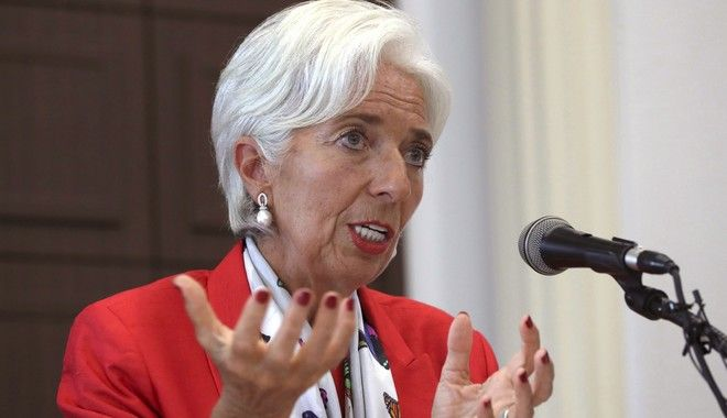 International Monetary Fund (IMF) Managing Director Christine Lagarde answers a reporter's question during a press conference in Seoul, South Korea, Monday, Sept. 11, 2017. Lagarde is currently visiting to South Korea and participated in financial conferences in Seoul and met with top South Korean officials. (AP Photo/Lee Jin-man)