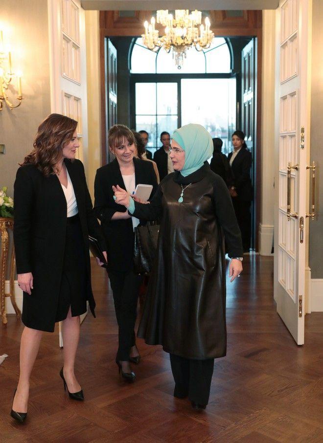 Η υποδοχή της Εμινέ Ερντογάν στην Μπέττυ Μπαζιάνα