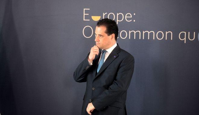 Ο υπουργός Υγεάις Άδωνις Γεωργιάδης στο άτυπο Συμβούλιο υπουργών Υγείας της ΕΕ στο Ζάππειο Μέγαρο την Δευτέρα 28 Απριλίου 2014. (EUROKINISSI/ΚΩΣΤΑΣ ΚΑΤΩΜΕΡΗΣ)