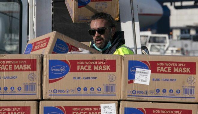 Αποστολή βοήθειας από την Κίνα για την αντιμετώπιση του κορονοϊού στην Ελλάδα.