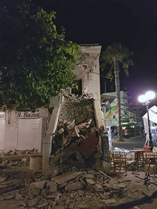 A damaged building is seen after an earthquake on the Greek island of Kos early Friday, July 21, 2017. A powerful earthquake struck Turkey's Aegean coast and nearby Greek islands, sending frightened residents running out of buildings they feared would collapse and into the streets.  (Kalymnos-news.gr via AP)