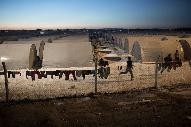 Evening at a refugee camp in Suruc, Turkey on November 7, 2014.