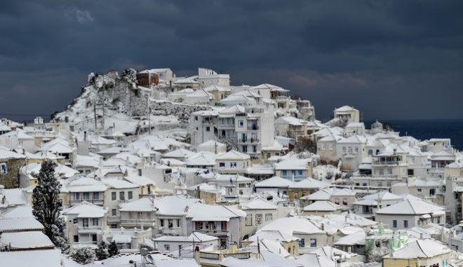 Χιόνια στη Σκόπελο - Φωτό αρχείου