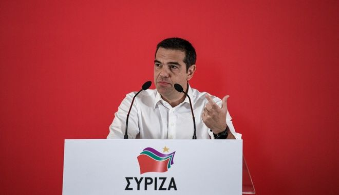 Στιγμιότυπο από την ομιλία Αλ. Τσίπρα στη συνεδρίαση της Κεντρικής Επιτροπής του ΣΥΡΙΖΑ