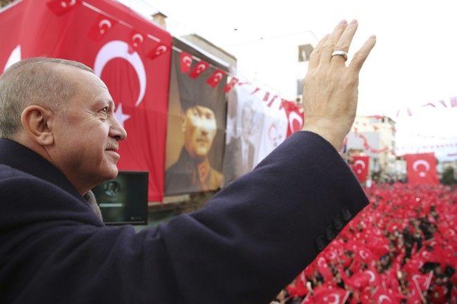 Ο Ρετζέπ Ταγίπ Ερντογάν σε συγκέντρωση στη Σμύρνη τον Φεβρουάριο του 2020