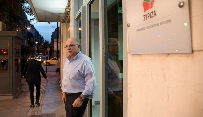Ο Δημήτρης Παπαδημούλης στα γραφεία του ΣΥΡΙΖΑ