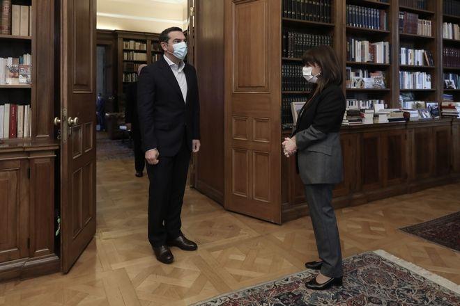 Συνάντηση της Προέδρου της Δημοκρατίας, Κατερίνας Σακελλαρόπουλου με τον Πρόεδρο του ΣΥΡΙΖΑ-Προοδευτική Συμμαχία, Αλέξη Τσίπρα στο Προεδρικό Μέγαρο