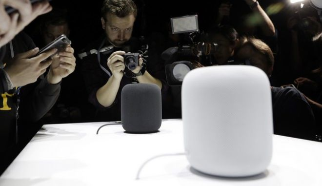 FILE - In this Monday, June 5, 2017, file photo, the HomePod speaker is photographed in a a showroom during an announcement of new products at the Apple Worldwide Developers Conference in San Jose, Calif. While Amazon pioneered the internet-connected speaker that responds to voice commands, it now has plenty of competition from other tech heavyweights. In early 2018, Apple will compete in the high end with the HomePod. (AP Photo/Marcio Jose Sanchez, File)