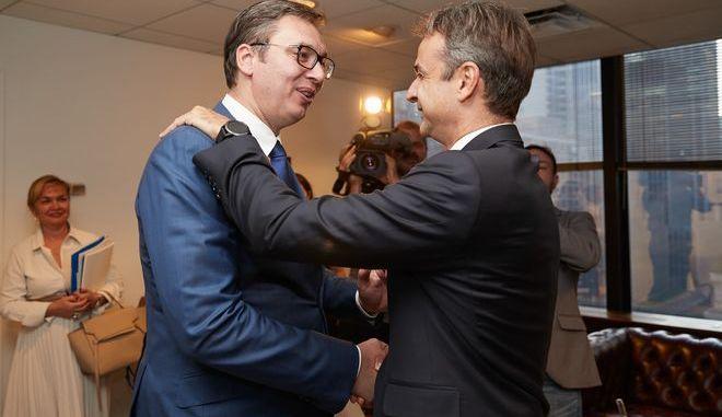 Διμερής συνάντηση του Πρωθυπουργού Κ. Μητσοτάκη με τον Πρόεδρο της Σερβίας Aleksandar Vucic (EUROKINISSI/ΓΡΑΦΕΙΟ ΤΥΠΟΥ ΠΡΩΘΥΠΟΥΡΓΟΥ/ΔΗΜΗΤΡΗΣ ΠΑΠΑΜΗΤΣΟΣ)