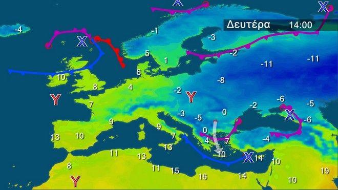 Οι θερμοκρασίες στην Ευρώπη την Δευτέρα