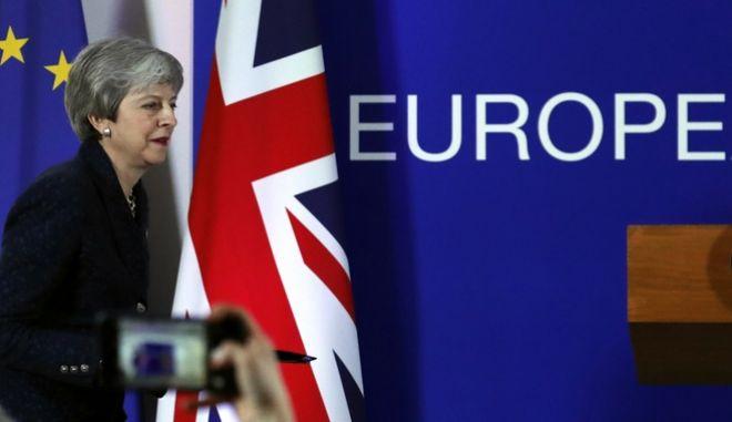 Η Βρετανίδα πρωθυπουργός Τερέζα Μέι σε συνέντευξη Τύπου στις Βρυξέλλες