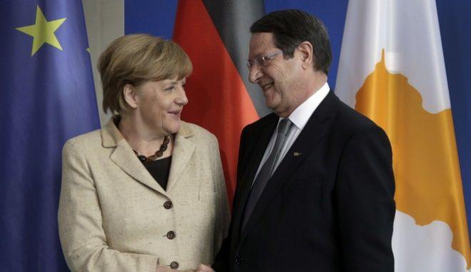 Η Γερμανίδα Καγκελάριος, Άγγελα Μέρκελ, με τον πρόεδρο της Κυπριακής Δημοκρατίας, Νίκο Αναστασιάδη
