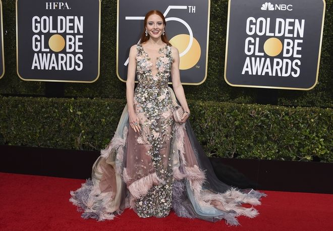 Barbara Meier arrives at the 75th annual Golden Globe Awards at the Beverly Hilton Hotel on Sunday, Jan. 7, 2018, in Beverly Hills, Calif. (Photo by Jordan Strauss/Invision/AP)