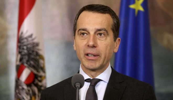 Austrian Chancellor Christian Kern address the media after a meeting with German Minister of Foreign Affairs Sigmar Gabriel at the federal chancellery in Vienna, Austria, Monday, Feb. 27, 2017. (AP Photo/Ronald Zak)